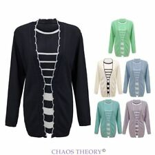 Womens Ladies Twinset Striped Long Sleeve Knitted Cardigan Jumper Top Plus Sizes