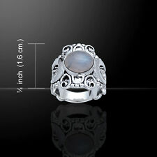 Crescent Moon .925 Sterling Silver Ring Choice of Gem Peter Stone