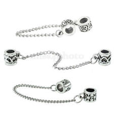 Antique Silver Heart Safety Chain Charm Beads For Bracelets DIY Jewelry Gift
