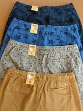 MENS URBAN PIPELINE FLAT-FRONT/CLASSIC LENGTH COTTON SHORTS~ELASTIC W/DRAWSTRING