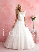 New Cap Sleeve Lace Wedding Dress Bridal Gown Prom Party Ball Pageant DEB Custom