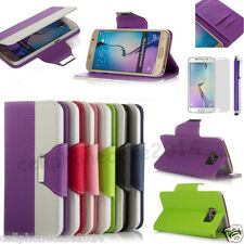 Galaxy S6 Case For Samsung - Leather Flip Stand Wallet Pouch Cover +Film+Stylus