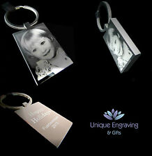 Personalised Photo Engraved Keyring Keychain  - Ideal Fathers day Gift!