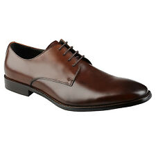 John White Mens Dark Brown Oxford Shoes Lace Up Calf Leather Formal