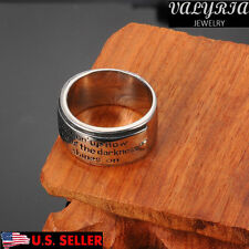 VALYRIA Men's Fashion Band 316L Stainless Steel Engraved Gothic Punk Band Ring