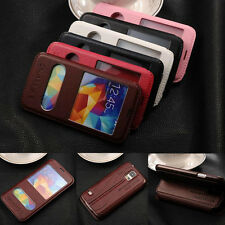 Luxury Flip Leather VIEW Window Stand Case Cover For Samsung Galaxy Smart Phones