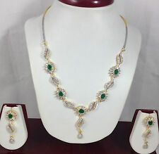 Indian Beautiful CZ AD Jewelry Necklace Earrings set with 4 colors gemstones