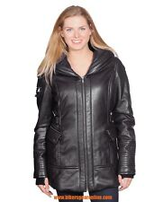 WOMEN'S MID-LENGTH PARKA BUTTER SOFT LAMB LEATHER JACKET VERY WARM 4 POCKETS NEW