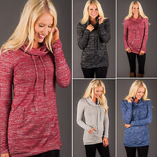 New Womens Turtleneck Long Sleeve Hoodie Sweater Drawstring Jumper Pullover Tops