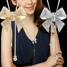 Elegant Sweet Crystal Rhinestone Bow Bowtie Pendant Necklace Sweater Chain