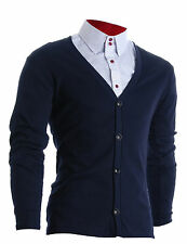 FLATSEVEN MEN SLIM FIT STYLISH BUTTON UP CARDIGAN / FC100NV