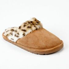 LAMO APRES Women Sheekpskin Scuff Slippers (P003W) Chestnut /Leopard MD,LG, XL