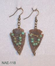 NAE-118 - Brass Wrapped Hand-Knapped Agate Arrowhead Earrings -  Design by Tina