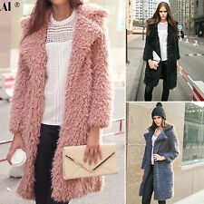 Fashion Womens Lapel Faux Fur Long Coat Winter Fluffy Shaggy Jacket Outwear Tops