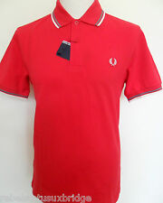 FRED PERRY T-Shirt Men's Twin Tipped Pique Polo Regular Fit M1200 Red/Ecru/Grey