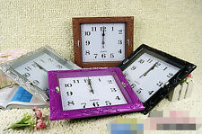 Large Vintage Square Modern Home Bedroom Retro Time Kitchen Wall Clock Quartz