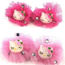 Hello Kitty Style Girls Hair Bobbles Bands Diamante Detail Accessories Elastics