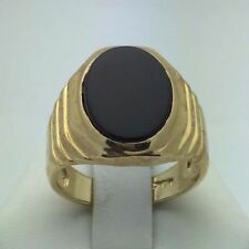 Men's 14K Yellow Gold Oval Black Onyx Ring (Available in Sizes 7-13)