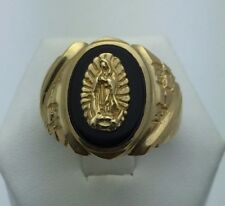 14K Yellow Gold Men's Oval Black Onyx with Guadalupe Ring (Available Sizes 7-13)