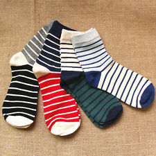4prs Men's Cotton Socks Man Casual Ankle new Fashion Color Block Stripes socks