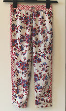 Girls Ex High Street Floral Trousers Red, blue & Cream 6 7 8 9 10 11 12 13 14