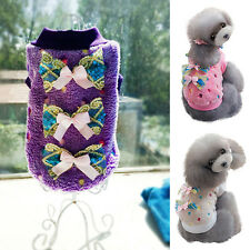 Warm Fleece Dog Bow Sweater Pullover Coat Pet Puppy Cat Costume Clothes Apparel