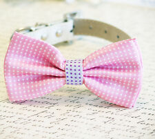Pink Dog Bow Tie, Pink and Purple bow, Polka dots, Pet Accessory, Dog Birthday,