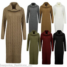 Ladies Women's Cowl Neck Long Sleeve Cable Knitted Midi Maxi Jumper Dress 8-14
