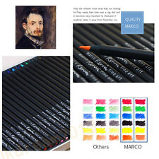 Black Wood 24/36/48 Marco Colored Oil Water Colour Drawing Pencil Tin Set Sketch