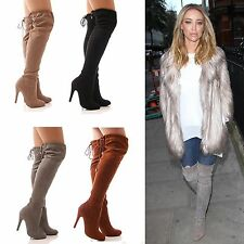 LADIES WOMENS LONG LEG BOOTS OVER THE KNEE DRAWSTRING TIE SLOUCH FASHION SIZE