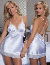 SEXY Plus Size Satin Lace Babydoll Chemise Nighty Lingerie+Thong 2X WHITE, GREEN