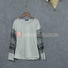 Women Loose Printed Long Sleeve Cotton Blend Gray O-neck Tops Blouses Shirts