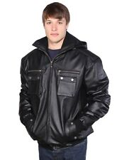 MEN'S COW HIDE BOMBER LEATHER JACKET REMOVABLE HOOD SOFT LEATHER VERY WARM BLACK