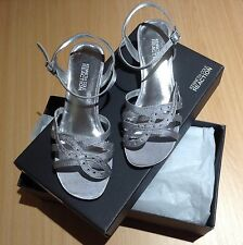 NEW Kenneth Cole Reaction Pass Star Strappy Sandals Shoes Silver Satin Pageant