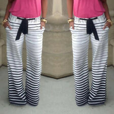Women's Zebra Stripe Casual Stretch Pants Belt Wide Leg Long Loose Trousers