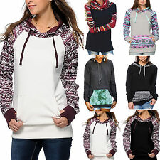New Women Pocket Hoody Hooded Sweatshirt Long Sleeve Hoodie Pullover Jumper Coat