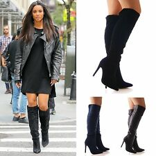 LADIES WOMENS KNEE HIGH HEEL BOOTS POINTY FORMAL WORK OFFICE SHOES SIZE