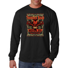 Thunder Road Motor Oil Devil Hot Rat Rod Car Auto Parts Long Sleeve T-Shirt Tee
