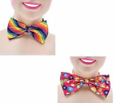 #MULTI COLOUR CLOWN BOW TIES PINK WITH DOTS STRIPEY PARTY ACCESSORY