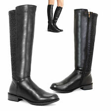 WOMENS GIRLS MID CALF HEELS WINTER RIDING ZIP KNEE BIKER SHOES BOOTS SIZES 3-8