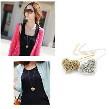 Hot Sell All-Match Elegant 3D Big Hollow Peach Heart Long Chain Sweater Necklace