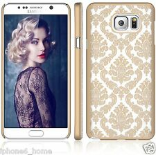 Transparent Vintage Damask Pattern Gold Hard Cover Shell Case For Galaxy Note 5