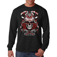 Demon Sugar Skull Day Of The Dead Stars Diamond Long Sleeve T-Shirt Tee