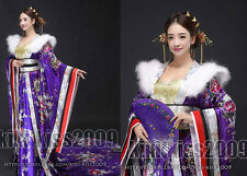 China Tang Dynasty Kimono Han Fu Wedding Long Dress Flower Silk Red/Purple/Blue