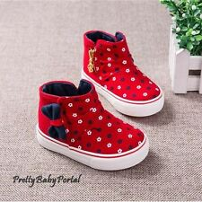 NEW Fashion Baby Toddler's GIRLS Floral Sports Casual Canvas Red Boots Shoes