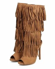 New Women Qupid Glee-168 Suede Layered Fringe Peep Toe Stiletto Boot Size