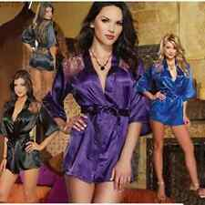 BeautifulLace Satin Babydoll Robe Sleepwear Lingerie Nightdress Pajamas G-string