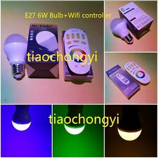 2.4G 4-Zone RF Remote Controller Dimmable WiFi Mi Light Series+ E27 RGBW 6W Bulb