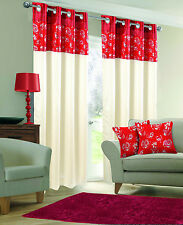 STYLISH FAUX SILK RINGTOP EYELET LINED METALLIC FLORAL RED & CREAM CURTAINS
