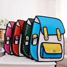 Fashion 3D Jump Style 2D Drawing Cartoon Paper Bag Comic Backpack Messenger Tote